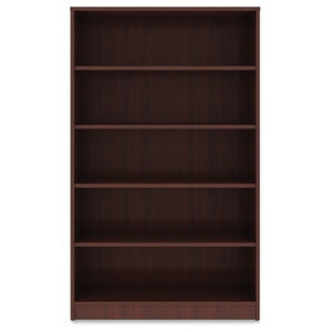 "Lorell Outlet Laminate Bookcase, 5-Shelf, 60""H, Mahogany"