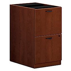 "basyx by HON Outlet BL Series 2-Drawer Pedestal File Cabinet, 27 3/4""H x 15 5/8""W x 21 3/4""D, Medium Cherry"