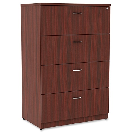 Lorell Essentials Series 4-Drawer Lateral File Cabinet, Mahogany