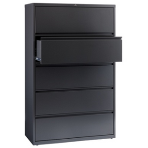 "WorkPro 42""W 5-Drawer Steel Lateral File Cabinet, Charcoal"