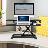 "FlexiSpot AlcoveRiser Sit-To-Stand Corner Desk Converter, 35""W, Black"