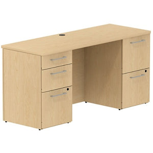 "(Scratch & Dent) Bush Business Furniture 300 Series Office Desk With 2 Pedestals 60""W, Natural Maple"