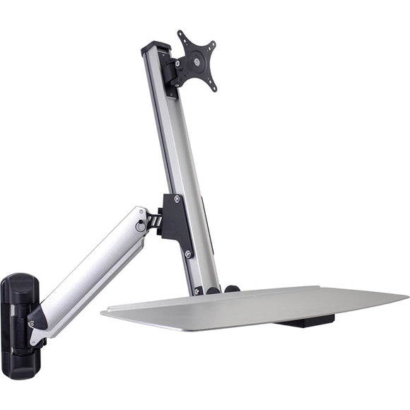 DoubleSight Displays Ergonomic Sit/Stand Monitor Arm and Keyboard Tray Wall Mount, 24