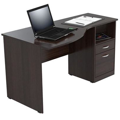 (Scratch & Dent) Inval Contemporary Curved Top Desk, Espresso-Wengue