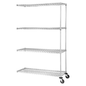 "Lorell Industrial Wire Shelving Add-On Unit, 48""W x 24""D, Chrome"