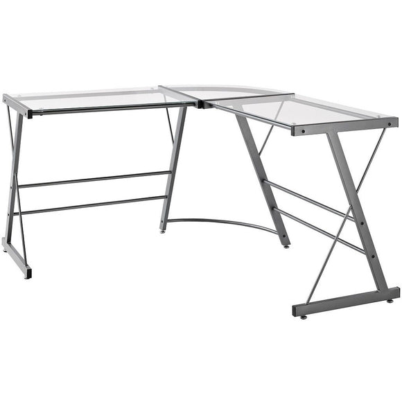 Ameriwood Outlet Home Glass L-Shaped Computer Desk, Gray