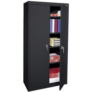 "(Scratch & Dent) Sandusky 72"" Steel Welded/Assembled Storage Cabinet With 4 Adjustable Shelves, Black"