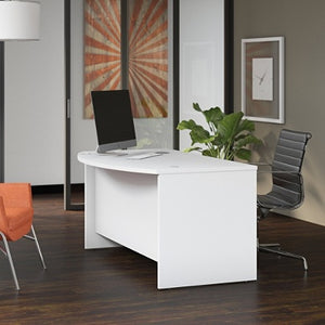 "(Scrtach & Dent) Bush Business Furniture Studio C Bow Front Desk, 60""W x 36""D , White"