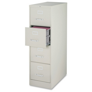 Lorell Fortress Series 26 1/2''D 4-Drawer Legal-Size Steel Vertical File Cabinet, Light Gray
