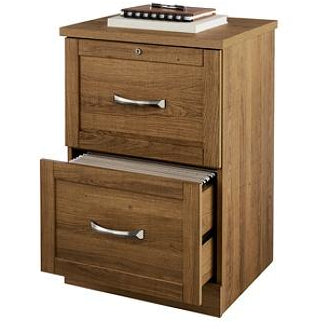 Realspace Outlet Premium Letter-Size Vertical File Cabinet, 2 Drawers, Golden Oak