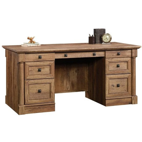 Sauder Palladia Executive Desk, Vintage Oak