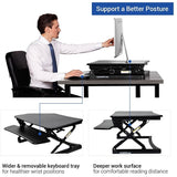 "(Scratch & Dent) FlexiSpot Height-Adjustable Standing Desk Riser With Removable Keyboard Tray, 35""W, Black"