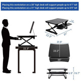 "FlexiSpot Height-Adjustable Standing Desk Riser With Removable Keyboard Tray, 35""W, Black"