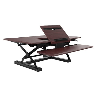 Loctek Outlet P-Series Sit-Stand Riser With Drop-Down Keyboard Tray, Mahogany