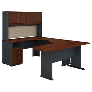 Bush Business Furniture Office Advantage U Shaped Desk And Hutch With Peninsula And Storage, Hansen Cherry