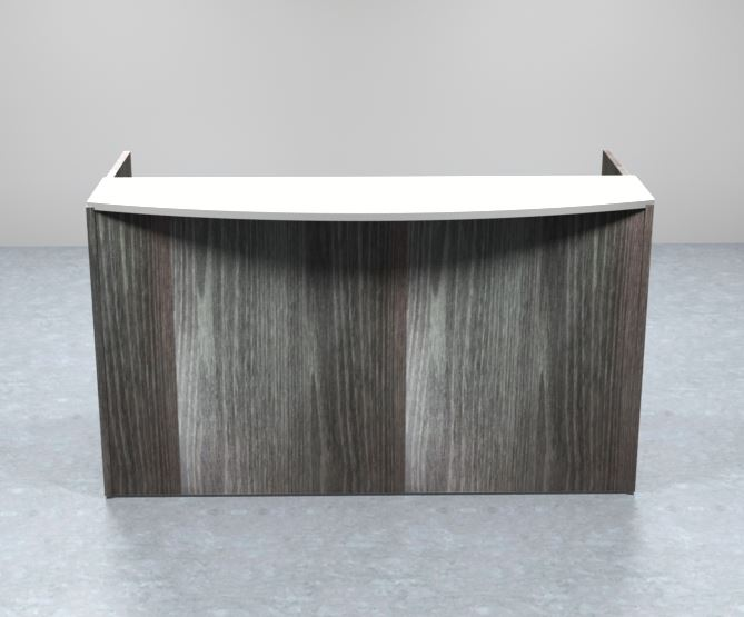 Sheridan Reception Desk Shell with Ultra White Glass Floating Transaction Counter, 72