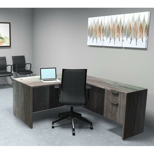Sheridan Manager L-Shaped Desk with Locking Hanging Box/File Pedestal Drawers, 60