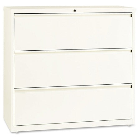 Lorell Outlet Fortress Series 42''W 3-Drawer Steel Lateral File Cabinet, Cloud White