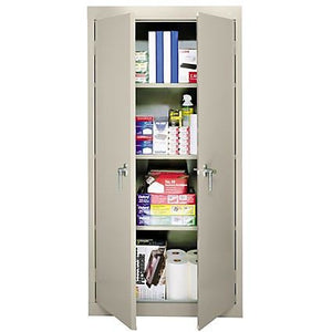 "(Scratch & Dent) Sandusky 30"" Steel Storage Cabinet With 3 Fixed Shelves, Putty"
