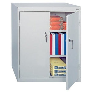 "(Scratch & Dent) Sandusky 42"" Steel Storage Cabinet With 2 Adjustable Shelves, 42""H x 36""W x 18""D, Dove Gray"