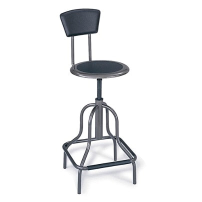 Safco Outlet Diesel Series High-Base Stool With Back, Pewter Frame, Pewter Fabric