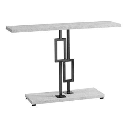 (Scratch & Dent) Monarch Specialties Metal Hall Console Table, Rectangular, Gray Cement/Black Nickel