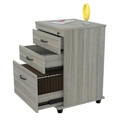 (Scratch & Dent) Inval Letter/Legal-Size Vertical File Cabinet, 3 Drawers, Smoke Oak