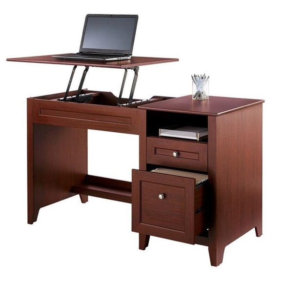 (Scratch & Dent) Realspace Premium Modern Manual Height-Adjustable Desk, Cherry