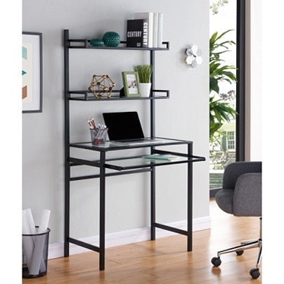 Southern Enterprises Outlet Brax Metal Glass Small Space Desk With Hutch, Black