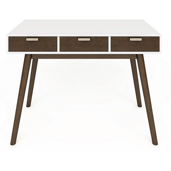 (Scratch & Dent) Elle Décor Outlet Stara Mid-Century Modern Desk, White/Brown