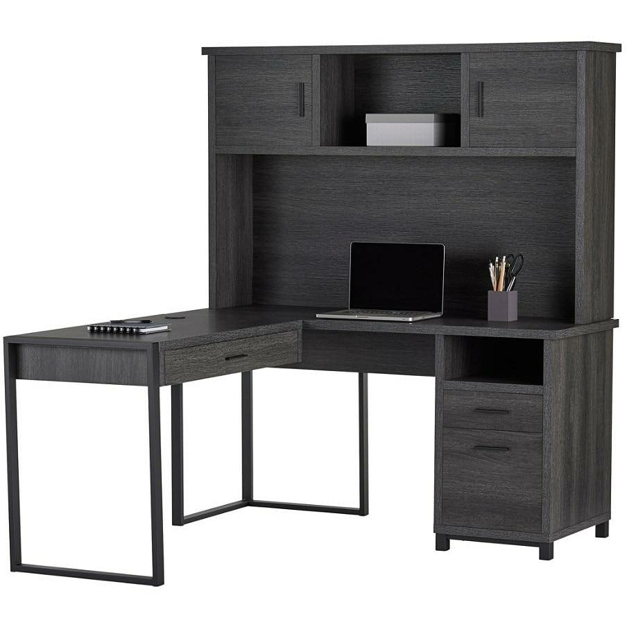 "(Scratch & Dent) Realspace Outlet DeJori 59""W L-Shaped Desk With Hutch, Charcoal"