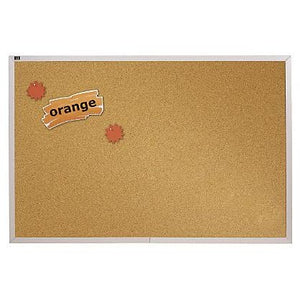 "(Scratch & Dent) Quartet Education Cork Bulletin Board With Aluminum Frame, 48"" x 96"""