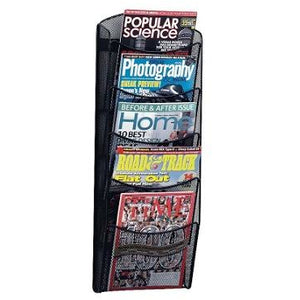 "Safco Outlet 5-Pocket Mesh Magazine Rack, 28 1/3""H x 10 1/4""W x 3 1/2""D, Black"