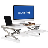 "FlexiSpot Height-Adjustable Standing Desk Riser With Removable Keyboard Tray, 35""W, White"