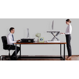 "(Scratch & Dent) FlexiSpot Height-Adjustable Standing Desk Riser With Removable Keyboard Tray, 35""W, White"