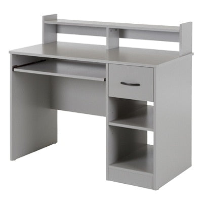 (Scratch & Dent) South Shore Axess Desk With Keyboard Tray and Hutch, Soft Gray