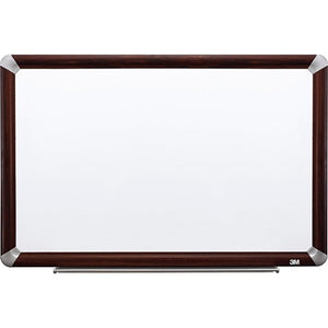 "(Scratch & Dent) 3M Outlet Porcelain Magnetic Dry-Erase Board With Elegant-Style Aluminum Frame, Mahogany Finish, 72"" x 48"""