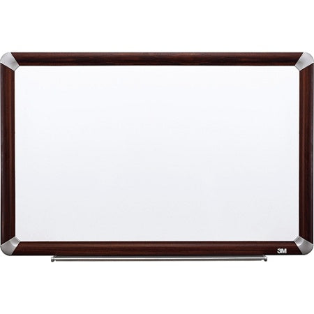 (Scratch & Dent) 3M Outlet Porcelain Magnetic Dry-Erase Board With Elegant-Style Aluminum Frame, Mahogany Finish, 72