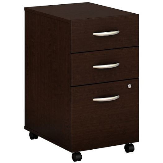 Bush Business Furniture Components 3 Drawer Mobile File Cabinet, Mocha Cherry