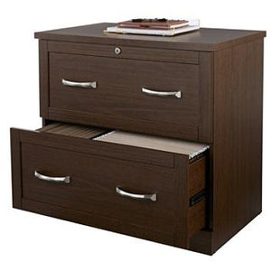 Realspace Outlet Premium Letter-/Legal-Size Lateral File Cabinet, 2-Drawer, Mocha