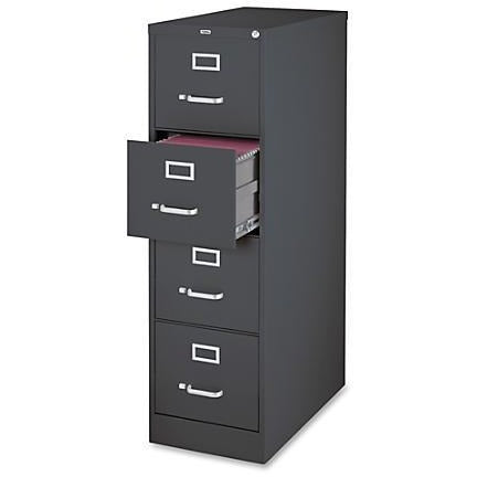 (Scratch & Dent) Lorell Fortress Series 26 1/2''D 4-Drawer Letter-Size Steel Vertical File Cabinet, Charcoal