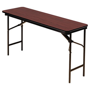 "Iceberg Premium Folding Table, Rectangular, 60""W x 18""D, Mahogany/Brown"