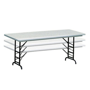 Realspace Outlet Adjustable-Height Molded Plastic Top Folding Table, 6'W, Platinum