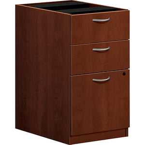 "basyx by HON Outlet BL Series 3-Drawer Pedestal File Cabinet, 27 3/4""H x 15 5/8""W x 21 3/4""D, Medium Cherry"
