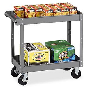 "Tennsco 2-Shelf Service Cart, 32""H x 16""W x 30""D, Medium Gray"