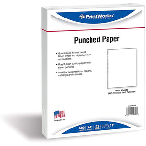 "Printworks Professional 8 1/2"" x 11"" 24 lbs. 19 Hole Punch GBC Paper, 500/Ream"