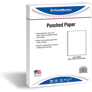 "Printworks Professional 8.5"" x 11"" Multipurpose Paper, 19-Hole Punch, 20 lbs, 92 Brightness, 500/Ream"