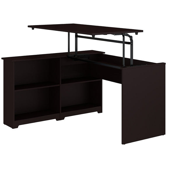 Bush Furniture Cabot 3 Position Sit to Stand Corner Bookshelf Desk, 52