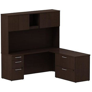 "Bush Business Furniture 300 Series Office Desk With Hutch And 2 Pedestals, 72""W x 22""D, Mocha Cherry"
