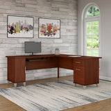 "Bush Furniture Somerset L Shaped Desk, 72""W, Hansen Cherry"